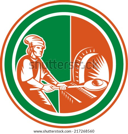 Illustration of a baker pizza maker holding peel pan with bread dough putting in open fire woodfire oven set inside circle done in retro style.  - stock vector