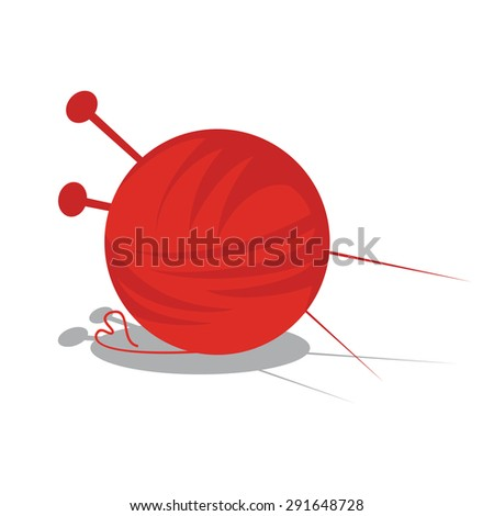 illustration of a ball of yarn with red shade