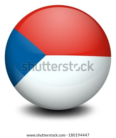 Illustration of a ball with the flag of Czech Republic on a white background