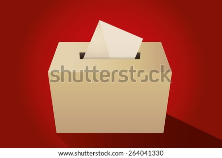 Illustration of a ballot box with an envelope - stock vector