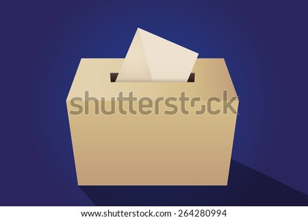 Illustration of a ballot box with an envelope, blue background - stock vector