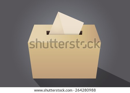Illustration of a ballot box with an envelope, gray background - stock vector