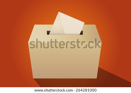 Illustration of a ballot box with an envelope, orange background - stock vector