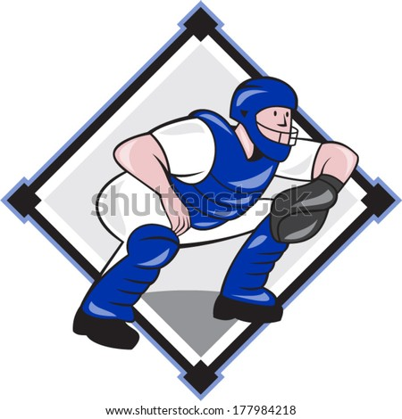 Illustration of a baseball catcher catching squatting facing side set inside diamond shape done cartoon style isolated on white background. - stock vector
