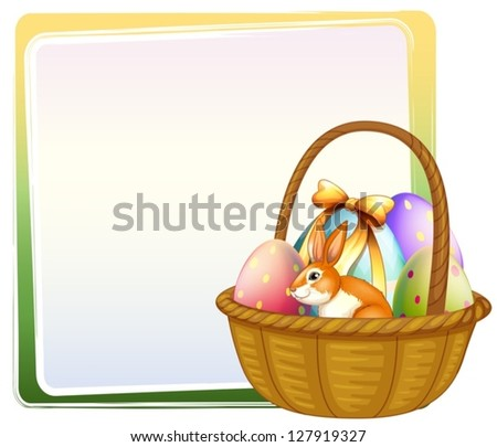 Illustration of a basket of Easter egg with a bunny on a white background