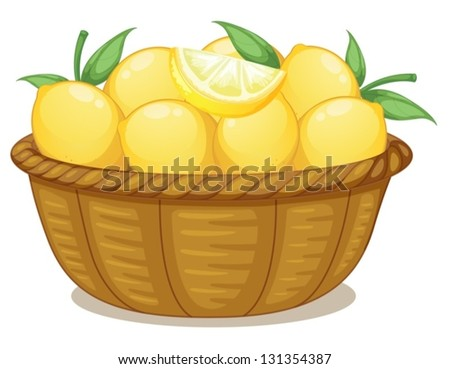 Illustration of a basket of lemons on a white background