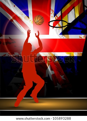 Illustration of a basketball player practicing with ball at court on flag abstract grungy background. EPS 10. - stock vector