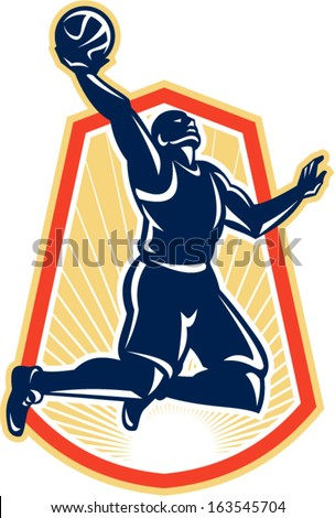 Illustration of a basketball player rebounding lay up dunking the ball set inside shiled crest done in retro style.