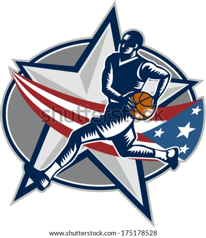 Illustration of a basketball player with ball on a fast break about to make a lay-up or dunk with star and American stars and stripes flag on isolated white background done in retro woodcut style.