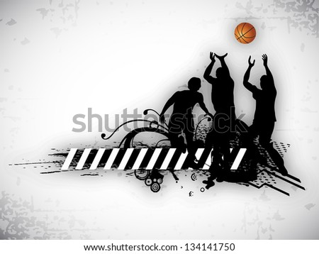 Illustration of a basketball players practicing with ball at court on  abstract grungy background. EPS 10. - stock vector