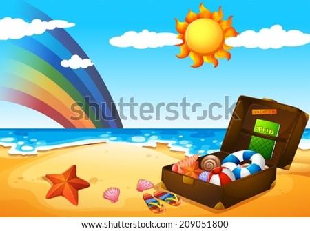 Illustration of a beach under the sky with a rainbow and a bright sun - stock vector
