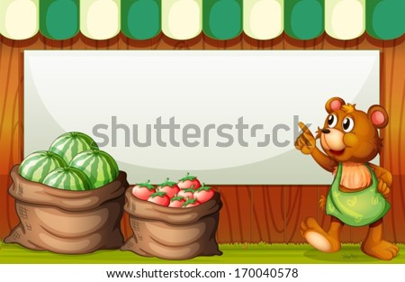 Illustration of a bear pointing the empty signboard at the market - stock vector