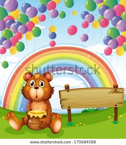 Illustration of a bear sitting beside the empty board with balloons and a rainbow - stock vector