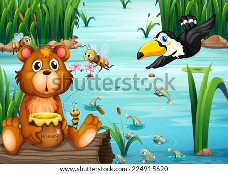 Illustration of a bear sitting on a log with a pelican - stock vector