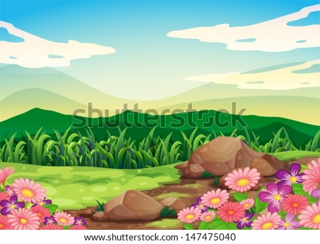 Illustration of a beautful scenery - stock vector