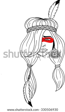 illustration of a beautiful American Indian woman with braided hair and feather - stock vector