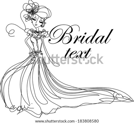 Illustration of a beautiful bride,  Bridal shower/wedding invitation template. - stock vector