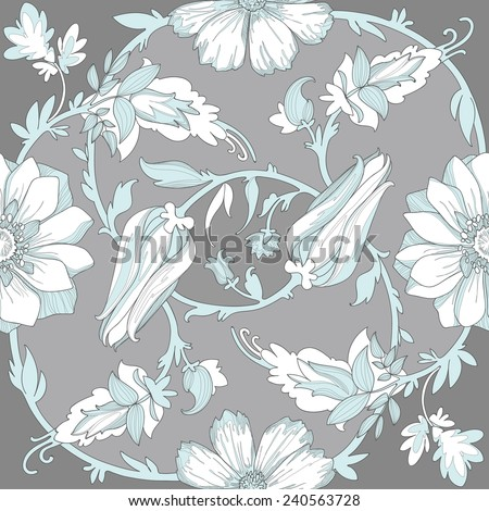 Illustration of a beautiful elegant floral pattern colors with a high degree of detail. Circular ligature delicate blue flowers and petals on a gray background. - stock vector