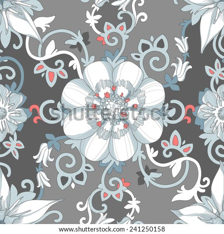 Illustration of a beautiful elegant floral pattern in pastel colors with a high degree of detail. Light blue flowers petals and tendrils intertwined in dramatic composition on a gray background. - stock vector