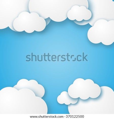 Illustration of a beautiful fluffy empty clouds on a blue background vector - stock vector