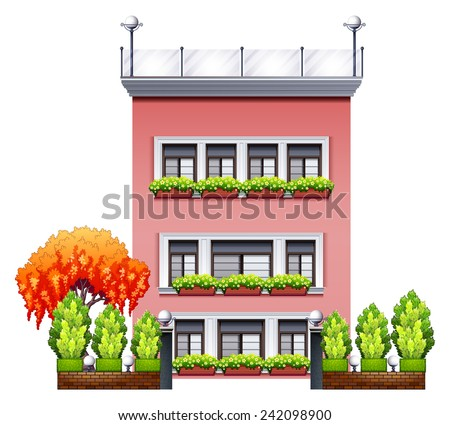 Illustration of a beautiful house with front yard - stock vector