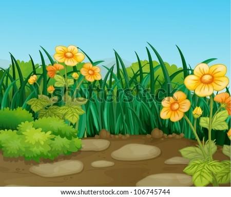 illustration of a beautiful nature landcape - stock vector