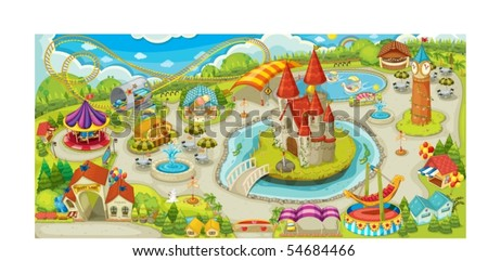 Illustration of a beautiful park - stock vector