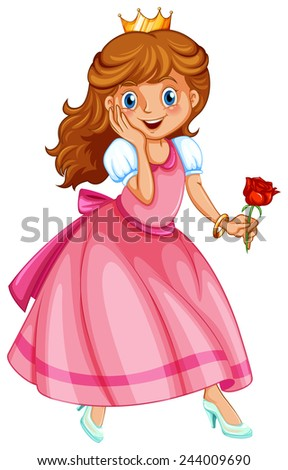 Illustration of a beautiful princess holding a rose - stock vector