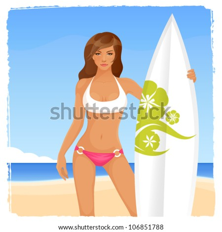 illustration of a beautiful surfer girl on the sunny beach - stock vector