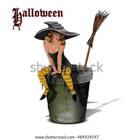 Illustration of a Beautiful Witch on a Mortar