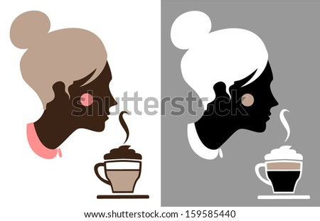 Illustration of a beautiful woman with a  cup of cappuccino. - stock vector