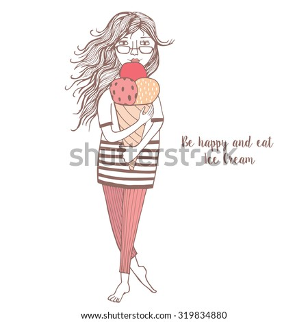 Illustration of a beautiful young woman enjoying a lemon-flavored ice cream.  - stock vector