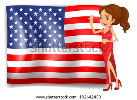 Illustration of a beauty queen and the flag of the USA on a white background - stock vector