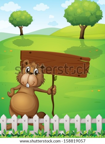 Illustration of a beaver holding an empty signboard standing near the fence