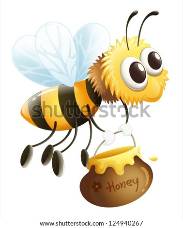Illustration of a bee carrying a honey on a white background