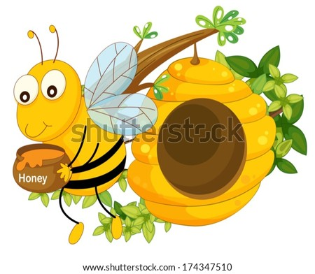 Illustration of a bee holding a pot of honey near the beehive on a white background - stock vector