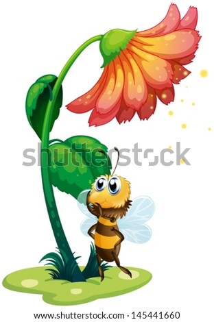 Illustration of a bee standing under the big flower on a white background
