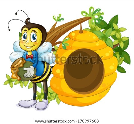 Illustration of a beehive beside the bee on a white background - stock vector