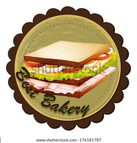 Illustration of a best bakery label with a sandwich on a white background