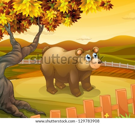 Illustration of a big bear inside the fence