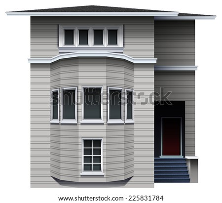 Illustration of a big building on a white background  - stock vector