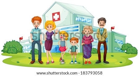 Illustration of a big family near the hospital on a white background - stock vector