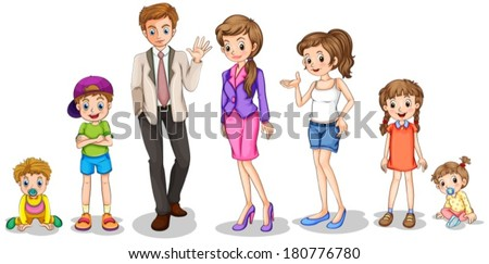 Illustration of a big family on a white background - stock vector