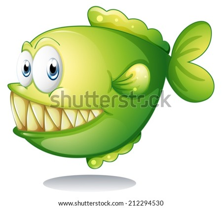 Illustration of a big green fish on a white background - stock vector