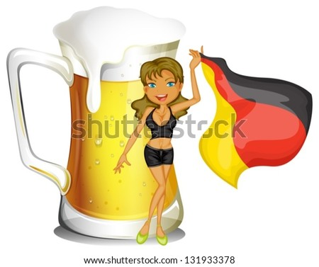 Illustration of a big mug of beer at the back of a lady holding the flag of Germany on a white background - stock vector