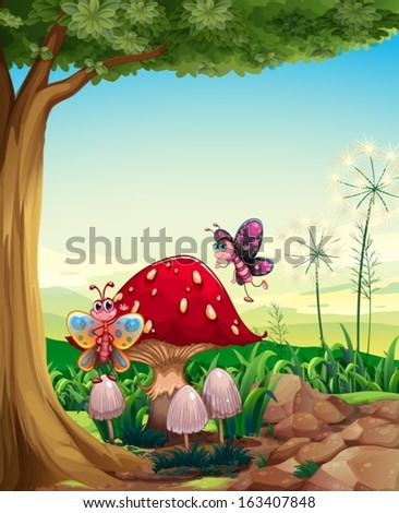 Illustration of a big mushroom near the tree with butterflies