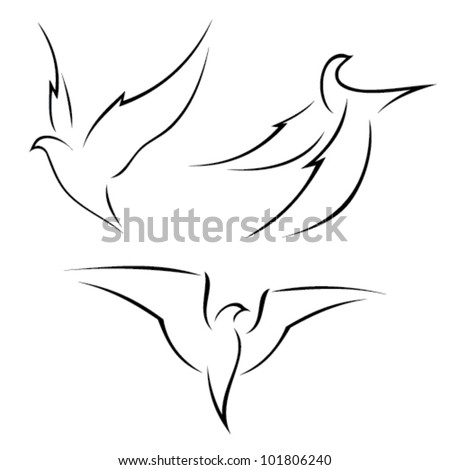 Illustration of a bird in flight - isolated on white