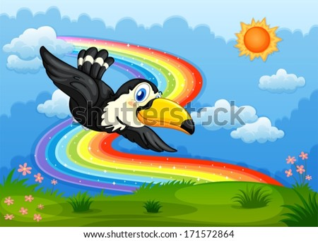 Illustration of a bird in the sky with a rainbow - stock vector