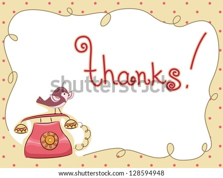 Illustration of a Bird perched on Phone Thank You Card - stock vector