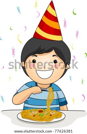 Illustration of a Birthday Celebrant Eating Noodles - stock vector